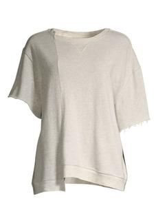 Hudson Jeans Cut Sleeve Asymmetric Cotton Sweatshirt