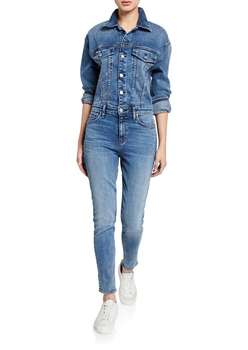 Hudson Jeans Denim Fitted Long-Sleeve Jumpsuit