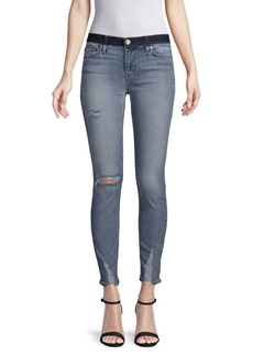 Hudson Jeans Distressed Mid-Rise Cropped Super Skinny Jeans