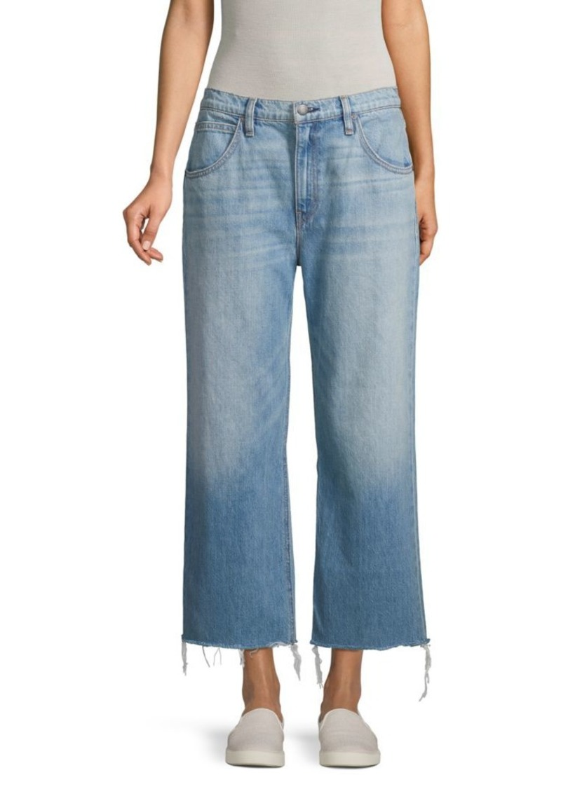 Hudson Jeans Distressed Wide-Leg Cropped Jeans