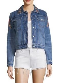 Hudson Jeans Floral-Embroidered Denim Trucker Jacket