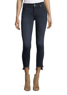 Fray-Hem Skinny-Leg Jeans