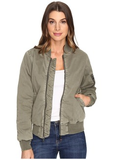 Hudson Jeans Gene Puffy Bomber in Loden Green Destructed
