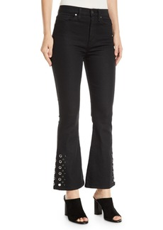 Hudson Jeans Holly High-Rise Cropped Flare-Leg Jeans with Grommets