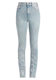 Hudson Jeans Holly High-Rise Straight-Leg Metallic Acid Wash Jeans