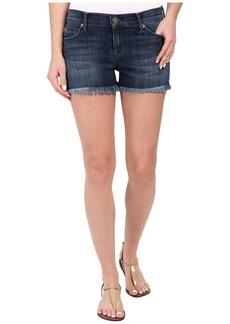 Hudson Amber Raw Edge Hem Shorts in Blue Crest