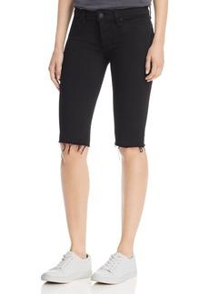 Hudson Jeans Hudson Amelia Knee Raw-Hem Denim Shorts in Black