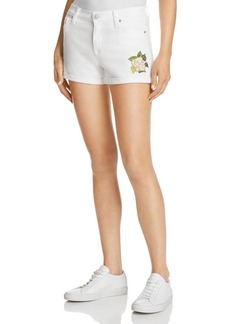 Hudson Asha Cuffed Denim Shorts with Embroidered Rose