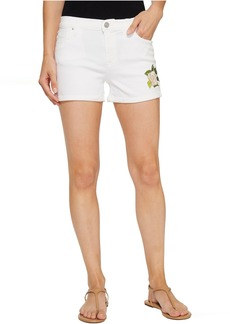 Asha Mid-Rise Cuffed Shorts in Embroidery Floral White