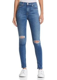 Hudson Barbara High Rise Super Skinny Jeans in Ultralight Destructed