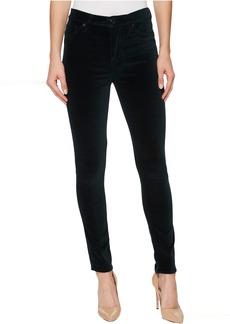Hudson Barbara High-Waist Super Skinny Velvet Jeans in Agave