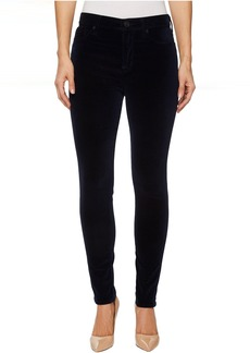 Hudson Barbara High-Waist Super Skinny Velvet Jeans in Dark Obsidian