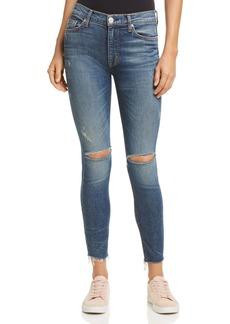 Hudson Barbara Raw-Hem Skinny Ankle Jeans in Nowhere Girl