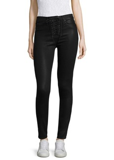 Hudson Bullocks Lace-Up Coated Skinny Jeans