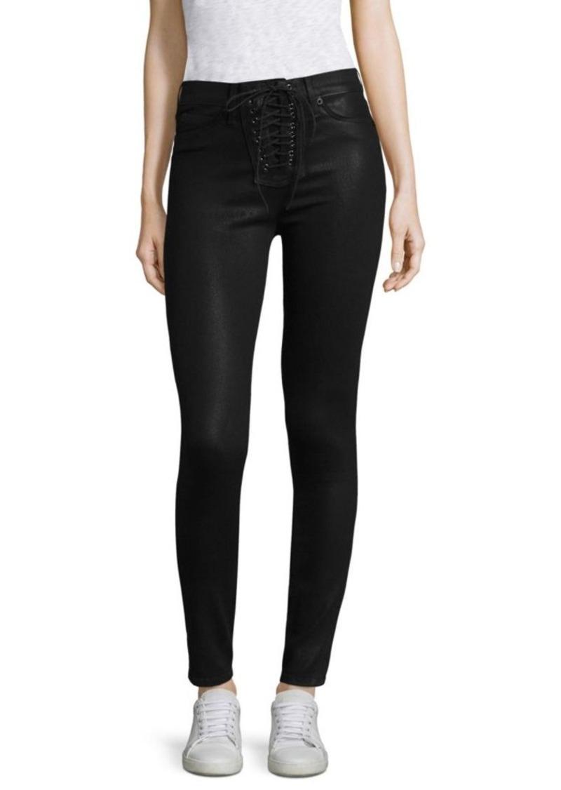 Hudson Jeans Bullocks Lace-Up Coated Skinny Jeans