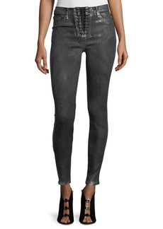 Hudson Bullocks High-Rise Lace-Up Skinny-Leg Jeans with Metallic