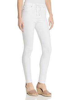 Hudson Bullocks Lace-Up Super Skinny Jeans in White