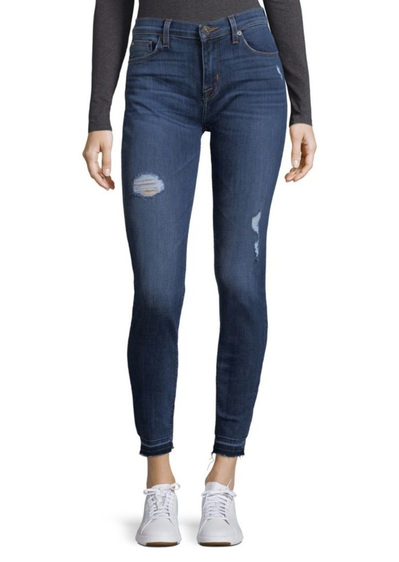 Hudson Jeans Buttoned Distressed Ankle Jeans
