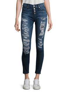 Hudson Ciara Distressed Button-Fly Super Skinny Jeans