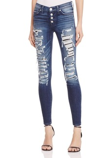 Hudson Ciara Exposed Button Skinny Jeans in Bombard Blue