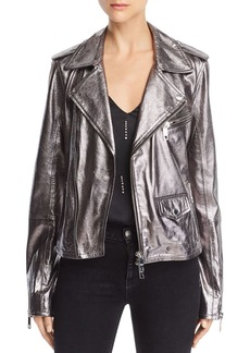 Hudson Jeans Hudson Classic Metallic-Leather Moto Jacket