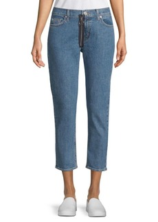 Hudson Contrast Zip Cropped Jeans