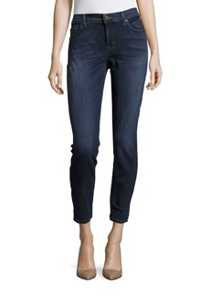 Cotton Blend Cropped Denim Pants