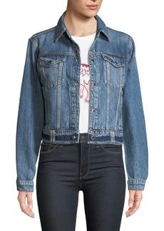 Hudson Jeans Hudson Cropped Snap-Front Denim Trucker Jacket