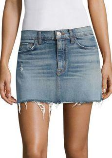Hudson Jeans Distressed Denim Mini Skirt With Frayed Hem
