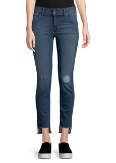 Hudson Distressed Fringe Skinny Jeans