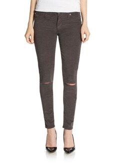 Hudson Distressed Mid-Rise Super Skinny Corduroy Pants