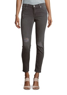 Hudson Distressed Super Skinny Ankle Jeans
