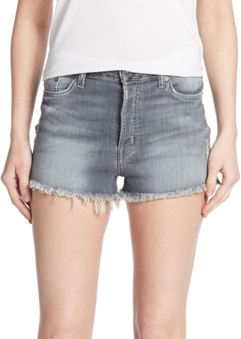 Hudson Jeans Hudson Distressed Zebra Striped Denim Cut-Off Shorts
