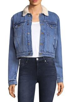 Faux Fur-Lined Denim Jacket