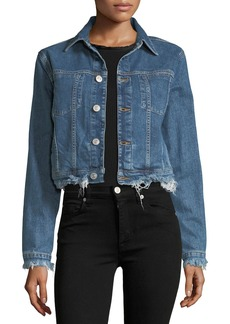 Hudson Jeans Hudson Garrison Button-Front Cropped Denim Jacket