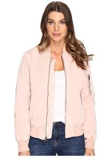 Hudson Jeans Hudson Gene Puffy Bomber Jacket in Sunkissed Pink Destructed