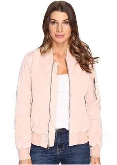 Hudson Jeans Hudson Gene Puffy Bomber Jacket in Sunkissed Pink Destructed