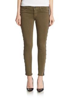 Hudson Gromet Embellished Tuxedo-Stripe Skinny Jeans