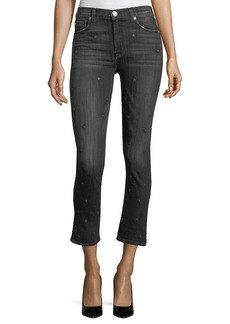 Hudson Harper High-Rise Crop Kick-Flare Jeans w/ Star Embroidery