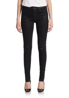 Hudson Barbara Distressed Coated High-Waist Super Skinny Jeans