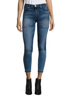 Hudson Isla Patchwork Cropped Raw Hem Skinny Jeans