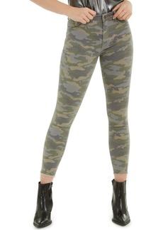 Hudson Jeans Barbara Camouflage-Print Frayed-Hem Jeans
