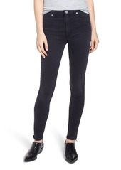 Hudson Jeans Barbara High Rise Raw Hem Super Skinny Jeans (Black Beauty)