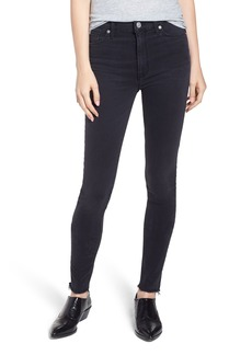 Hudson Jeans Barbara High Rise Raw Hem Super Skinny Jeans (Black Beauty)