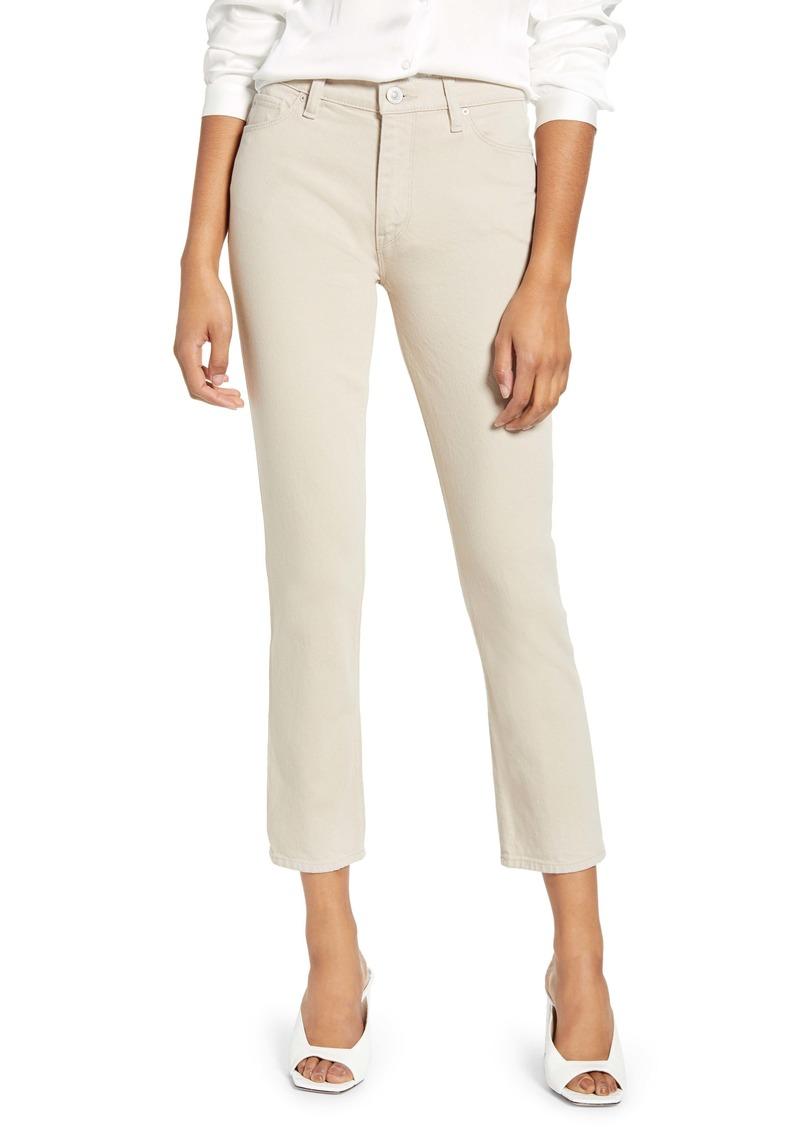 Hudson Jeans Barbara High Waist Crop Straight Leg Jeans (Ivory)