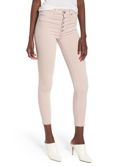 Hudson Jeans Barbara High Waist Raw Hem Ankle Skinny Jeans (Blushing)