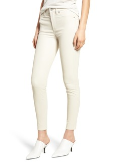 Hudson Jeans Barbara High Waist Super Skinny Leather Jeans (Pale White)