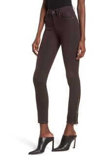 Hudson Jeans Barbara High Waist Zip Ankle Jeans (Deep Red)