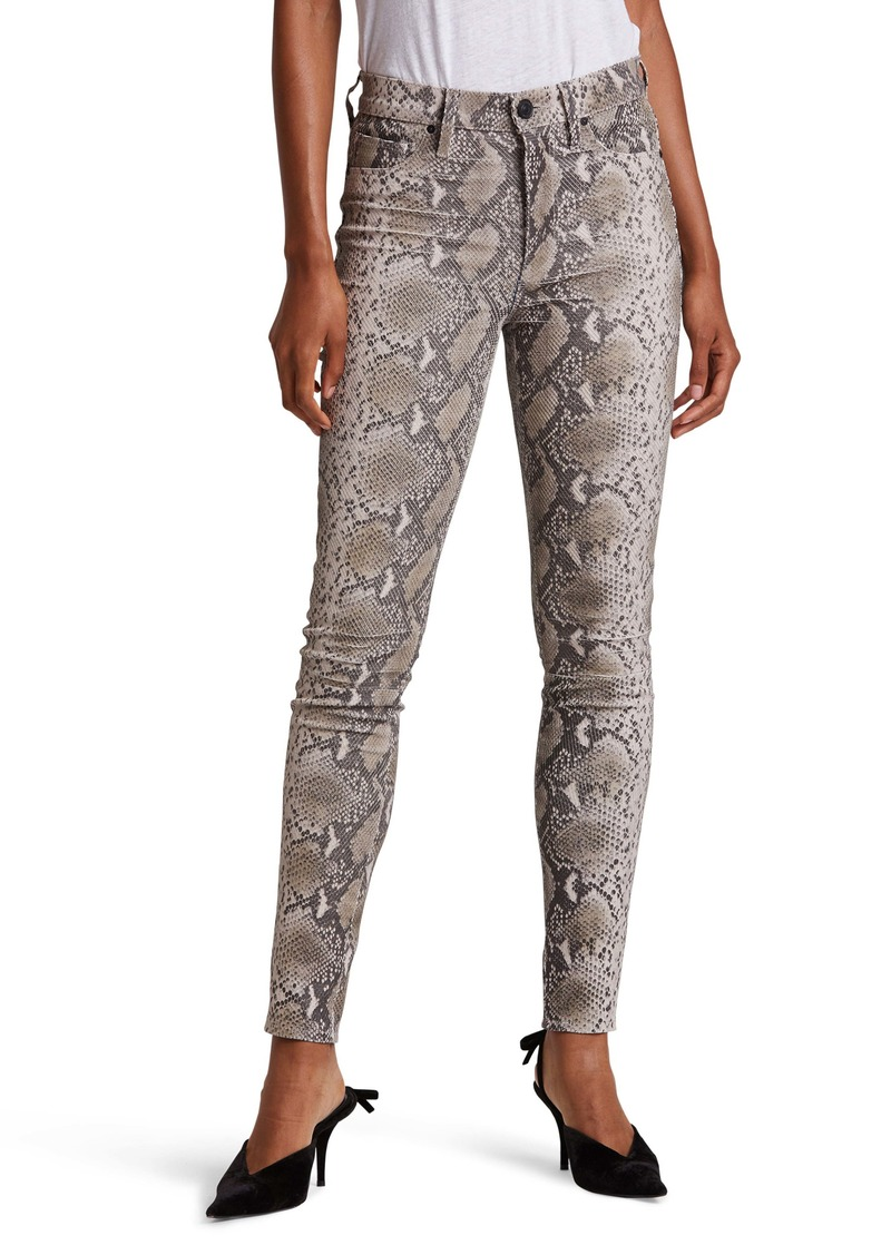 Hudson Jeans Barbara Python Embossed Leather High Waist Ankle Super Skinny Pants