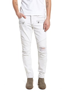 Hudson Jeans Blinder Biker Skinny Fit Moto Jeans (Extracted White)